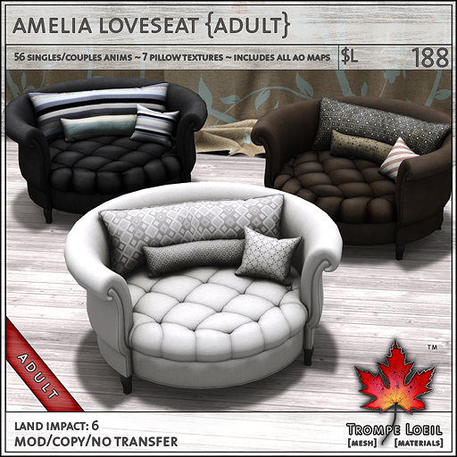 amelia loveseat adult L188