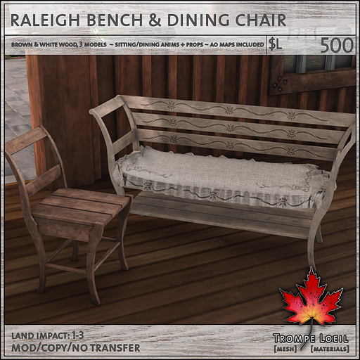 raleigh bench and chair L500