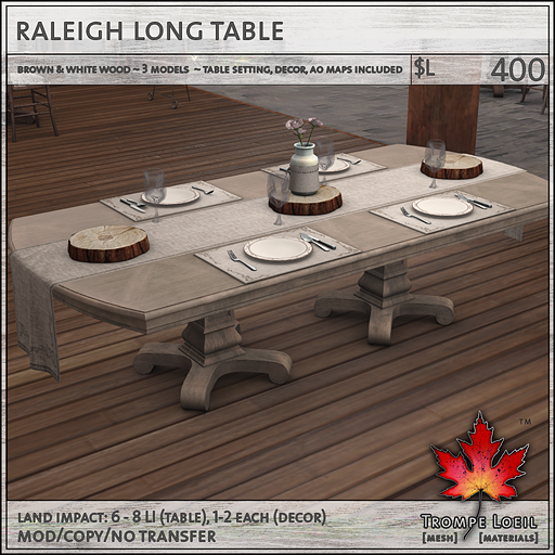raleigh table long L400