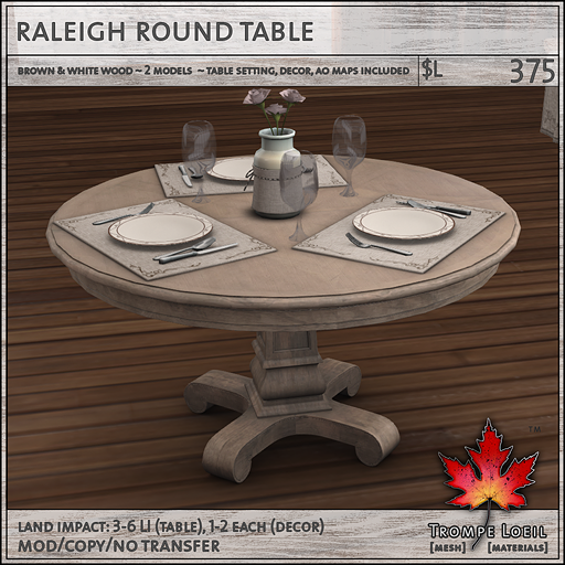 raleigh table round L375