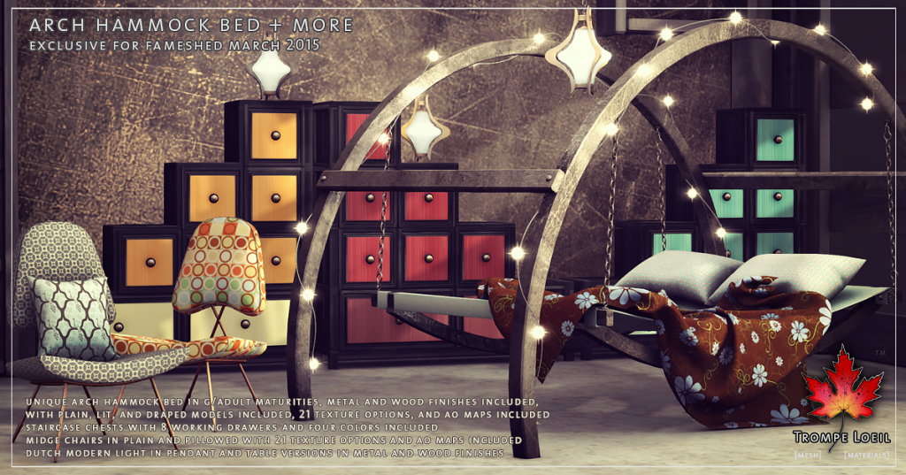 Trompe Loeil - Arch Hammock Bedroom FaMESHed March promo