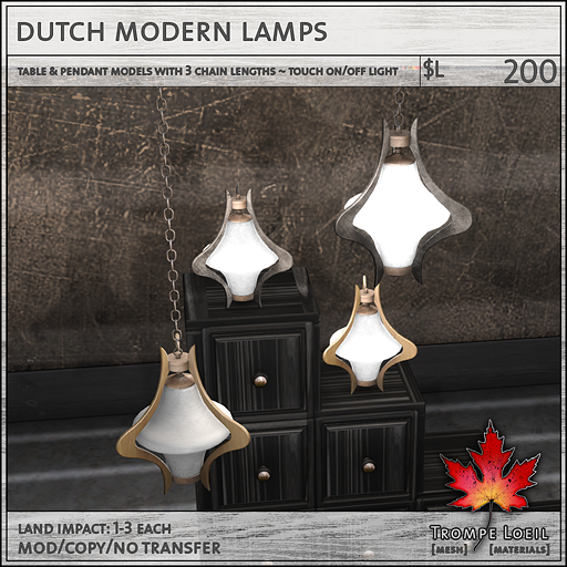 dutch modern lamps sales L200