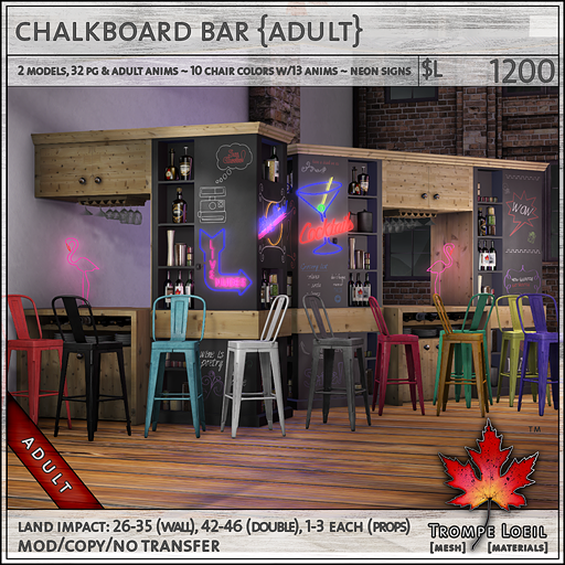 chalkboard bar Adult L1200
