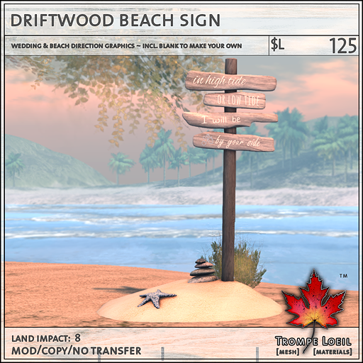 driftwood beach sign L 125