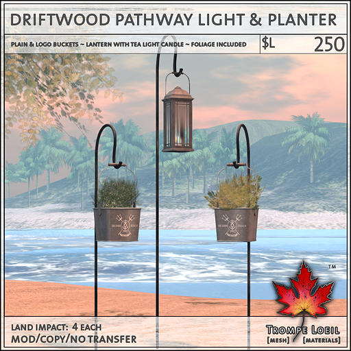 driftwood pathway light and planter L250