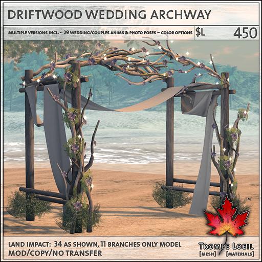 driftwood wedding archway L450