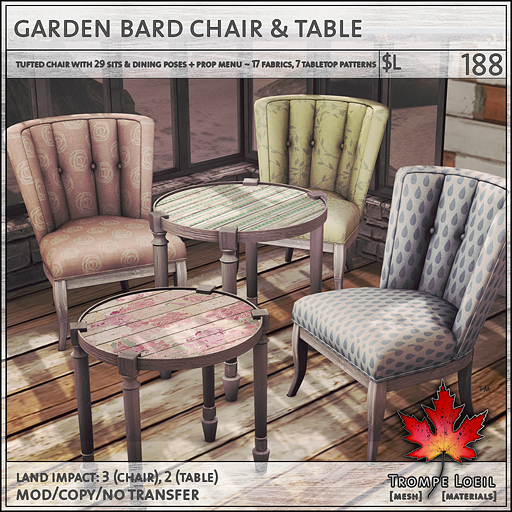 garden bard chair table sales L188