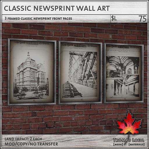 classic newsprint wall art L75