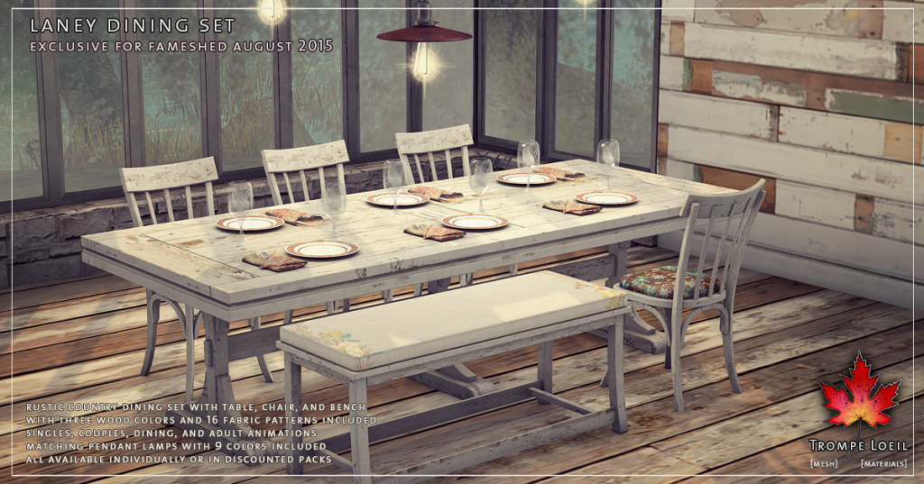 Trompe Loeil Laney Dining Set for FaMESHed August 1