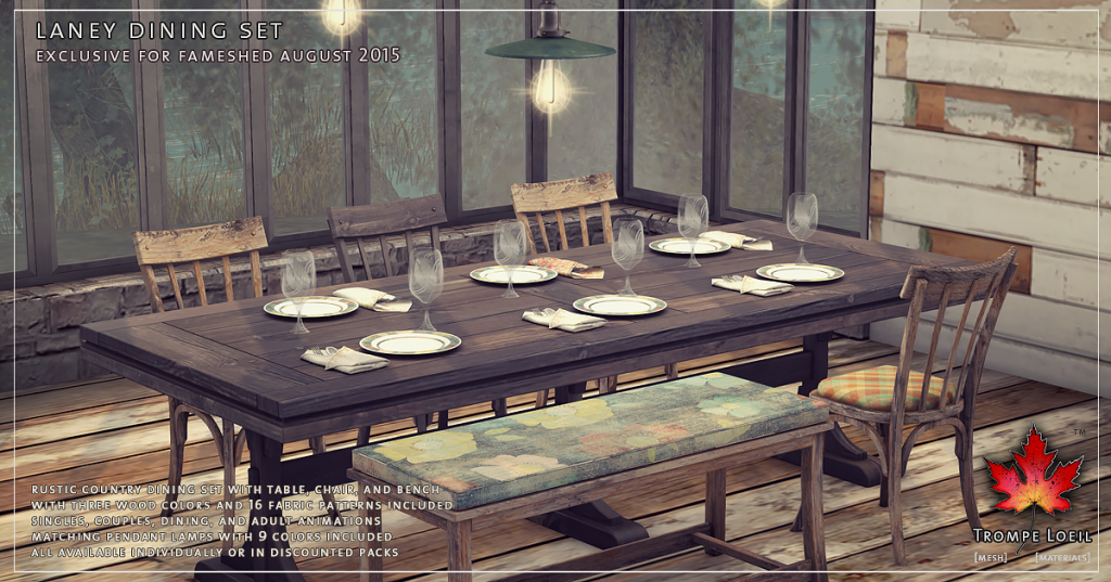 Trompe Loeil Laney Dining Set for FaMESHed August 2