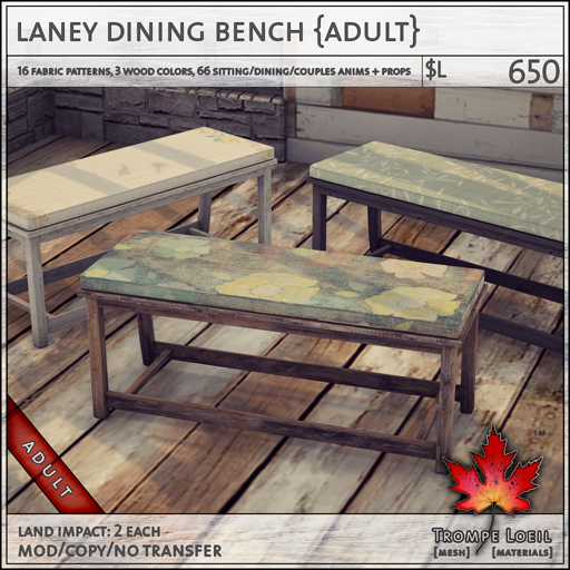 laney dining bench Adult L650