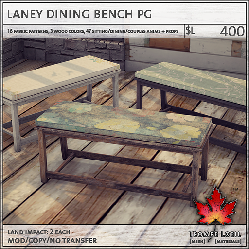 laney dining bench PG L400