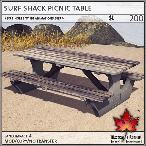 surf shack picnic table L200