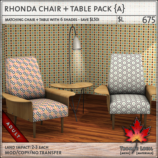 rhonda chair table pack Adult L675