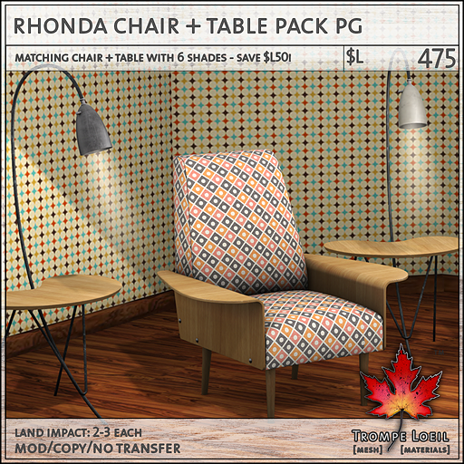 rhonda chair table pack PG L475