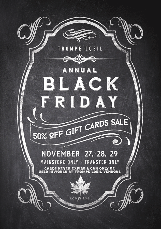 Black Friday 2015 – 50% Off Gift Card Sale Nov 27, 28 & 29