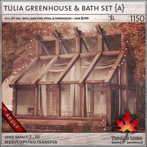 tulia greenhouse and bath set Adult L1150