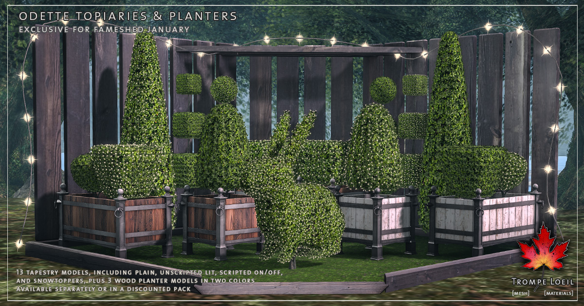 Odette Topiaries and Planters for FaMESHed January
