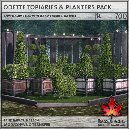 odette topiaries and planters pack L700