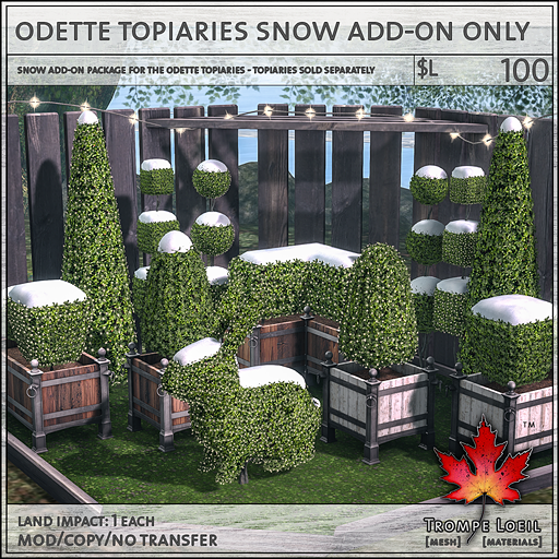 odette topiaries snow add-on only L100