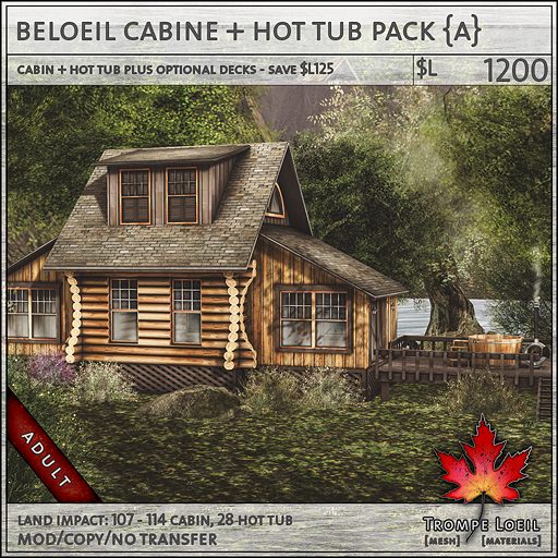 beloeil cabine and hot tub Adult sales L1200