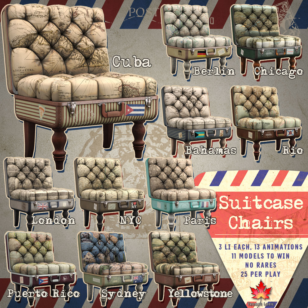 Suitcase Chairs for The Arcade March