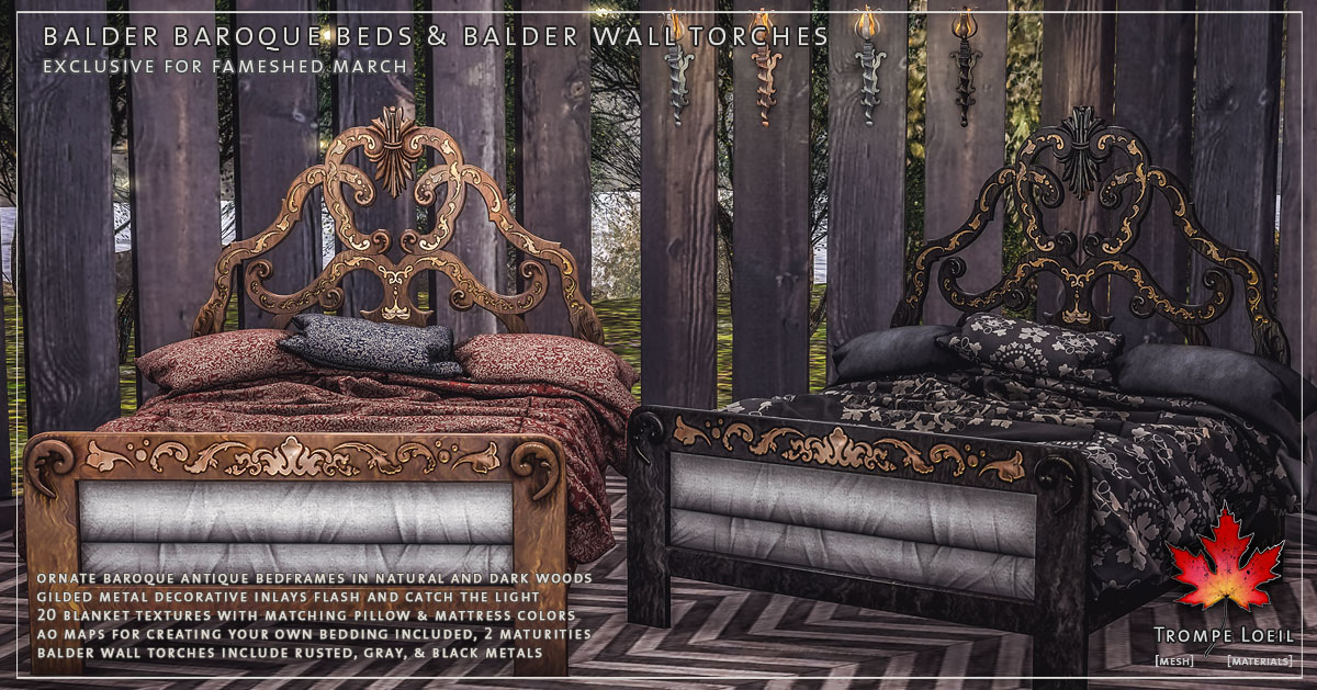 Balder Baroque Beds & Wall Torches for FaMESHed March