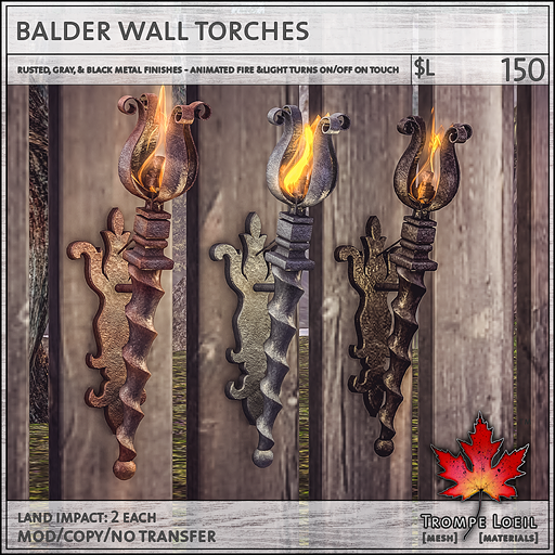 balder wall torches L150