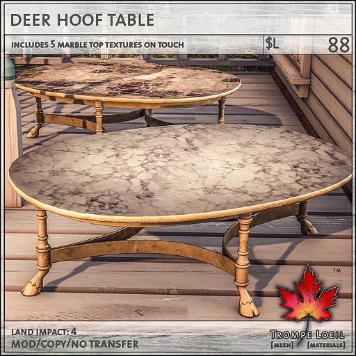 deer hoof table L88