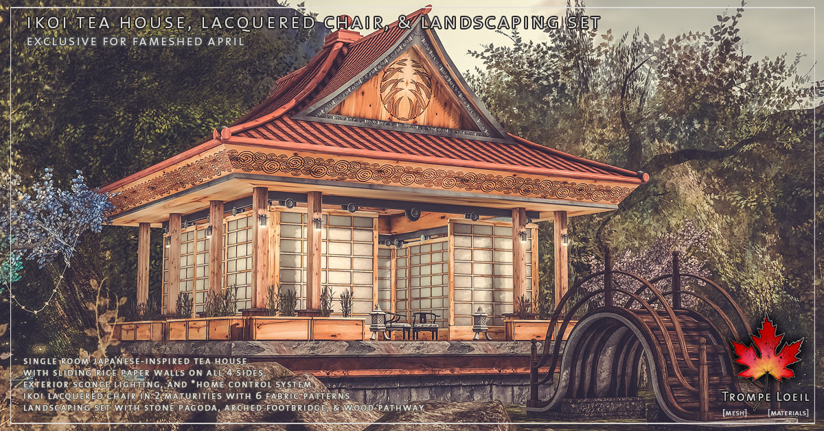 Ikoi Tea House, Lacquered Chair & Landscaping Set for FaMESHed April