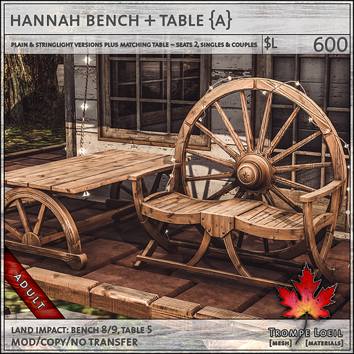 hannah bench table Adult L600