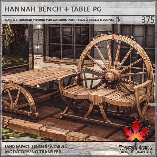 hannah bench table PG L375