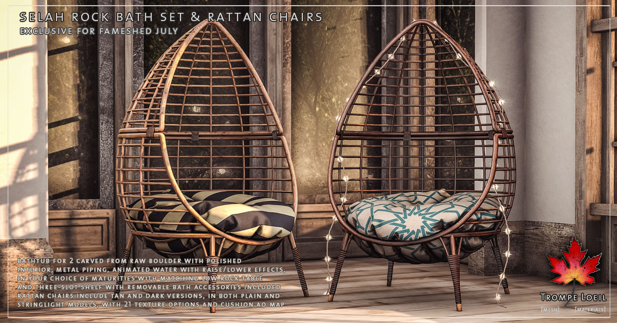 Selah Rock Bath Set & Rattan Chairs for FaMESHed July