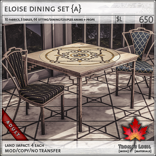 eloise dining set Adult L650