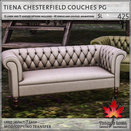 tiena chesterfield couches Adult L425