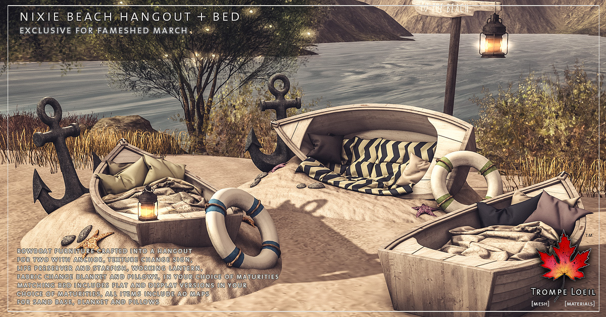 Nixie Beach Hangout & Beds for FaMESHed March