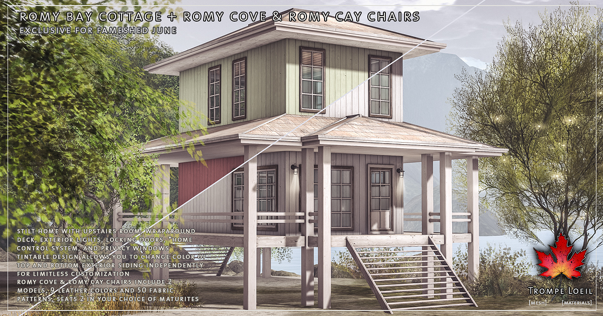 Romy Bay Cottage + Romy Cove & Romy Cay Chairs for FaMESHed June