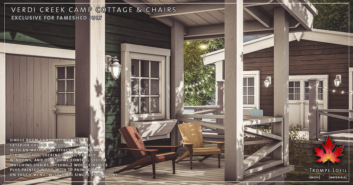 Verdi Creek Camp Cottage & Chairs for FaMESHed July