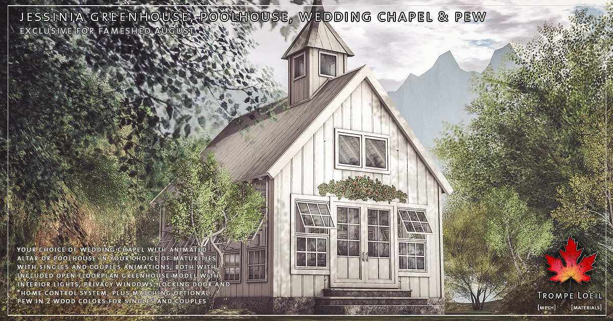Jessinia Greenhouse, Poolhouse, Wedding Chapel & Pew for FaMESHed August