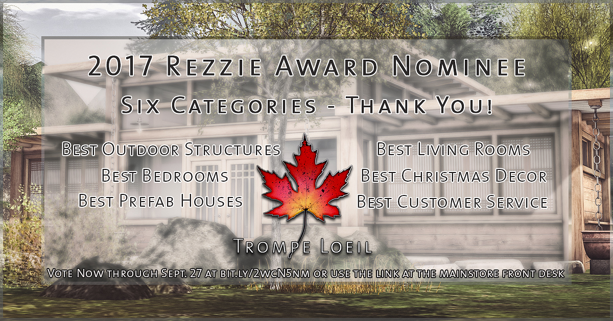 Trompe Loeil nominated for 6 Rezzie Awards – voting open now