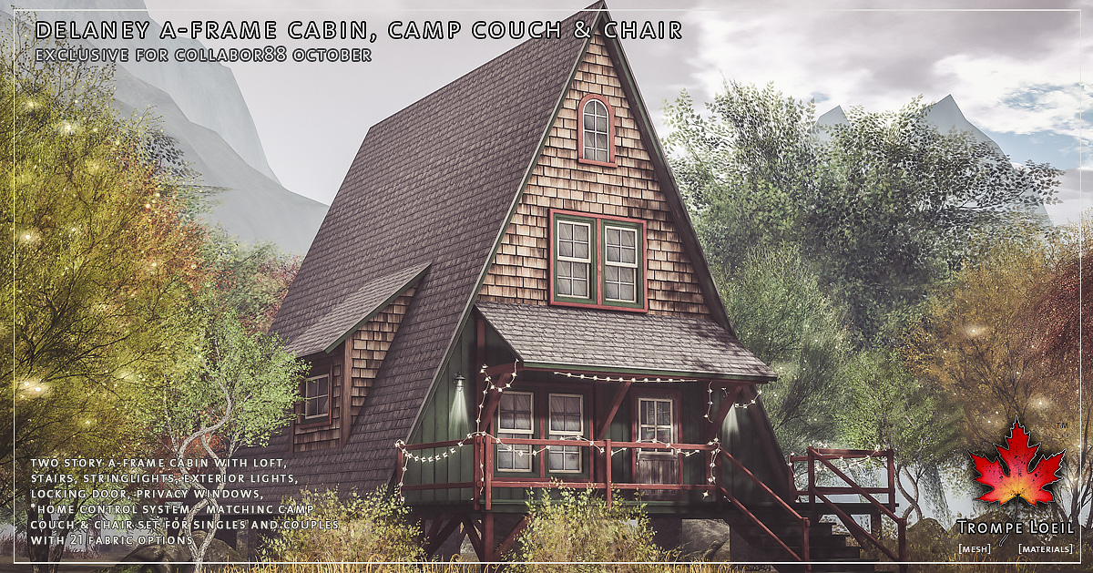 Delaney A-Frame Cabin, Camp Couch & Chair for Collabor88 October