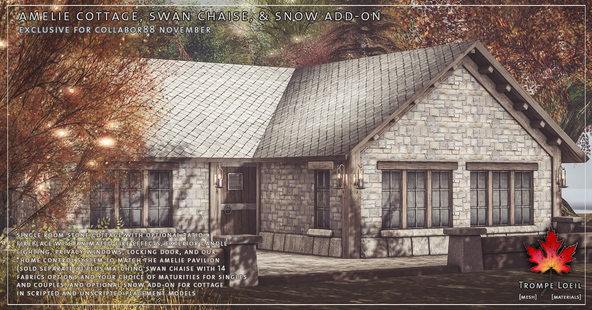 Amelie Cottage, Swan Chaise, and Snow Add-On for Collabor88 November
