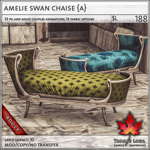... Swan Chaise is a luxurious statement piece for any room with 14 fabric options for frame and cushion plus animations for singles and couples in your ... : swan chaise - Sectionals, Sofas & Couches