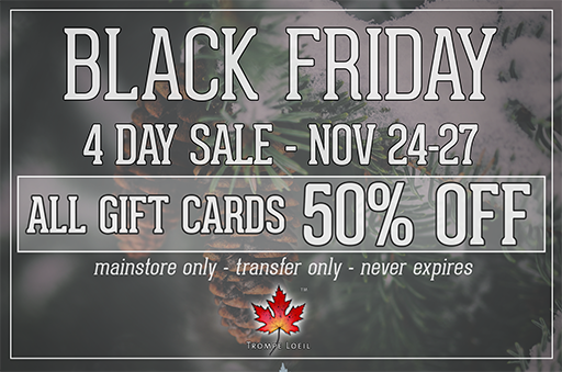 Black Friday 2017 50% Off Gift Card Sale Nov. 24-27