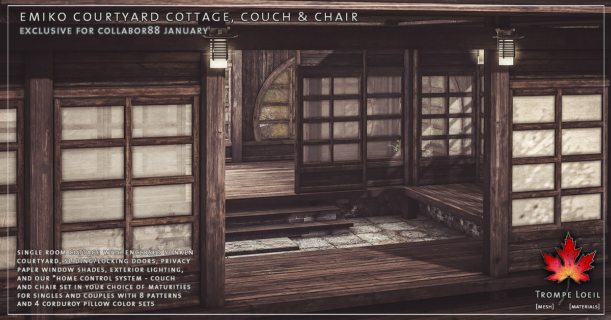 Emiko Courtyard Cottage, Snow Add-On, Couch & Chair for Collabor88 January