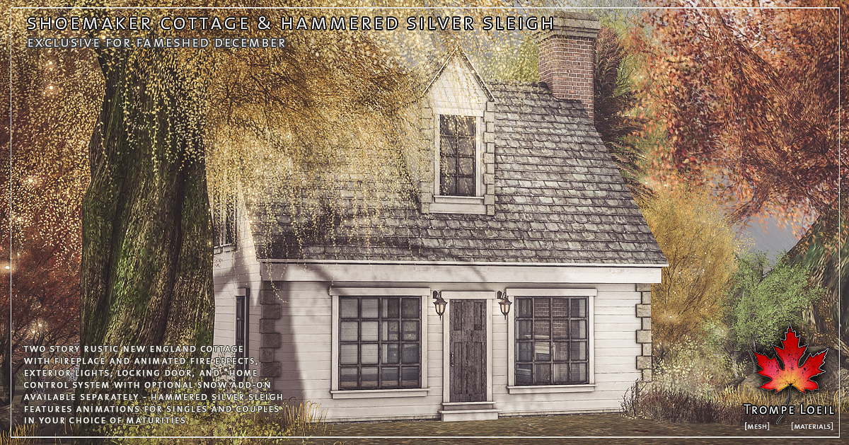 Shoemaker Cottage, Hammered Silver Sleigh, and Snow Add-On for FaMESHed December, now at the Mainstore