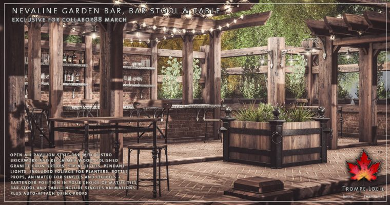 Nevaline Garden Bar and Bar Stool & Table for Collabor88 March