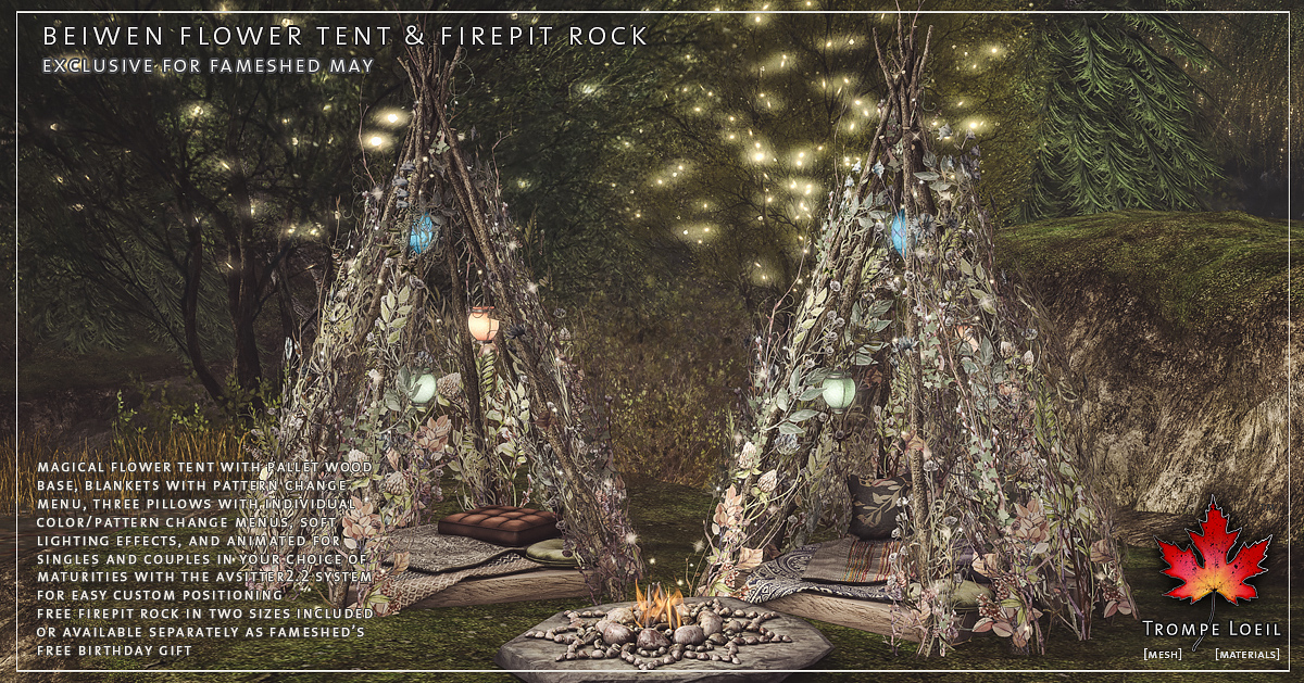 Beiwen Flower Tent & Firepit Rock for FaMESHed May
