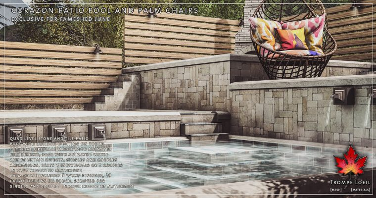 Corazon Patio Pool & Palm Chairs for FaMESHed June