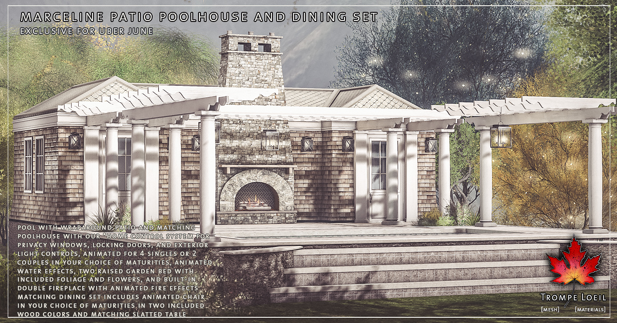 Marceline Pool House & Dining Set for Uber June